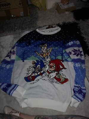 Hedgehog Christmas Jumper.Official Sonic The Hedgehog Skiing Christmas Jumper Ugly Sweater Size Xl
