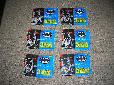 Topps 1992 (Batman Returns)  6 SEALED PACKs OF 5 MOVIE PHOTO STICKERS BATMAN DC