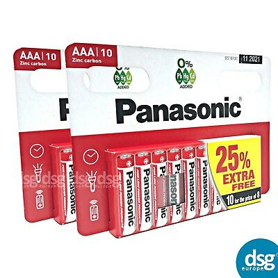20 x AAA Genuine PANASONIC Zinc Carbon Batteries - New R03 1.5V Expiry 2021