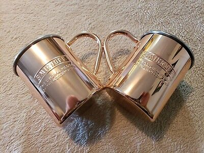 Set of 2 Mule Mugs Annodized Aluminum Copper Color New In Box Smirnoff