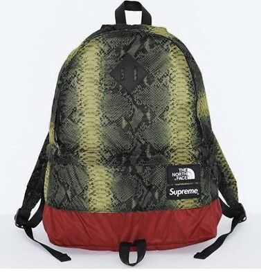 f827f8471 SUPREME X THE North Face Camp Day Pack Backpack Snake Skin Green Brand New