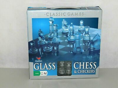 Elegant Glass Chess and Checker Game Set And Board