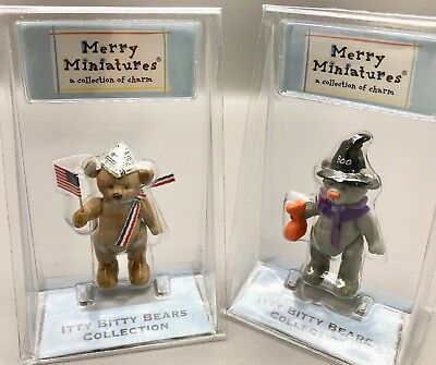 Hallmark Merry Miniatures Itty Bitty Bears Figurine Dandy Treat LOT