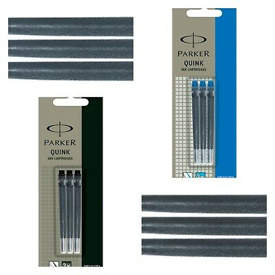 Pack 3 x Parker Long Quink Flow Blue and Black Ink Cartridge Refill Fountain Pen