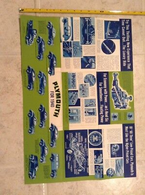 1940 Plymouth Automoblile Fold-out pamplet Ad Car Auto poster brochure lineup