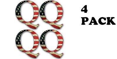 4-PACK Small 1.5 Inch Q Shaped American Flag Stickers  - laptop qanon trump new