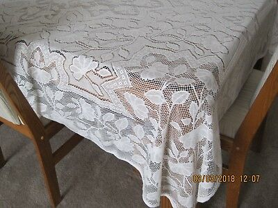 """Lace Polyester Tablecloth 78"""" x 62""""; Ivory Machine washable"""