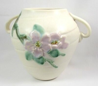 Vintage Weller Pottery RUDLOR Handled Vase White with Wild Rose Flowers 1930s