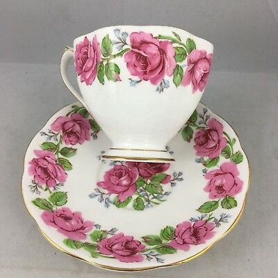 Queen Ann Lady Alexander Rose Banded Footed Pink Red Teacup & Saucer