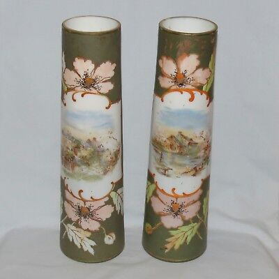 Victorian Era Tall Hand Decorated Scenic Glass Mantle Vases