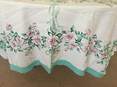 "Vintage 1950's  White &  Light Pink Rose's &  Greenery 50"" By 60"" Tablecloth"
