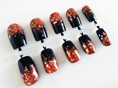 Handpainted False Nails, Black & Orange