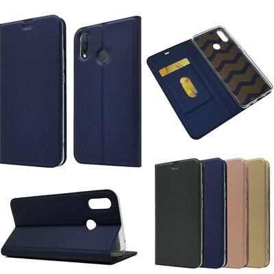 For Huawei P Smart 2019 Magnetic PU Leather Wallet Case Card Holder Stand Cover
