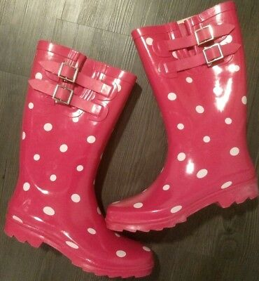 Merona Pink Polka Dot Tall Rain Boots Women's 7 Zaney Rubber Shoes. Worn once
