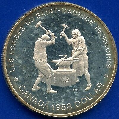 1988 Canada Proof Silver Dollar (St.Maurice Ironworks 250th) 23.33 Grams .500