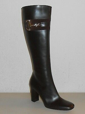 94d541b3c Auth GUCCI Brown Leather Tall Boot w/ Horsebit Detail #217204 ~ Sz 37 (