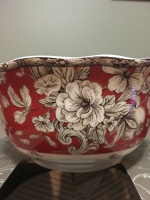 "222 Fifth ""Hawthorne"" Set Of 4* 5 3/4"" Cereal/Soup Bowls*Red"