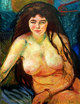 "Nude Woman With Long Hair 8.5x11"" Photo Print Edvard Munch Fine Art Naked Female"