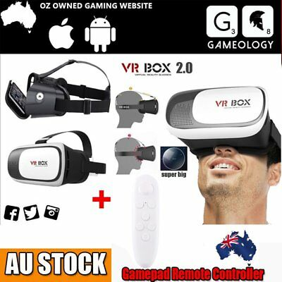 3D VR Box 2.0 Virtual Reality Glasses Headset Goggles Bluetooth With Remote YJ