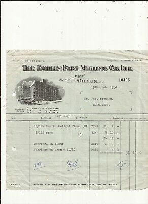 Ireland. Invoice from the Dublin port milling Co Ltd from 1954