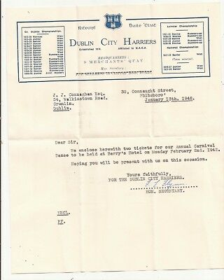 Ireland Dublin city Harriers Letterhead. Annual Carnival Dance invitation 1942
