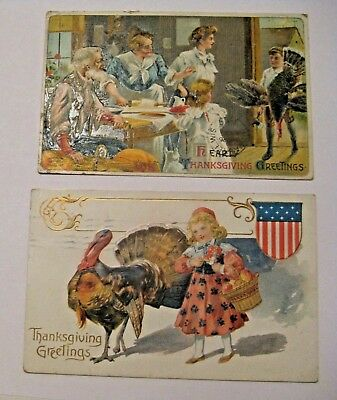 2 Antique 1909 Embossed Thanksgiving Holiday Postcards ~ Rare & Old Estate Find
