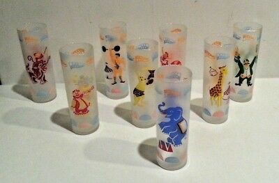 "8 Vintage 7"" LIbbey Frosted Glass Big Top Circus Theme Collins Glasses Tumblers"