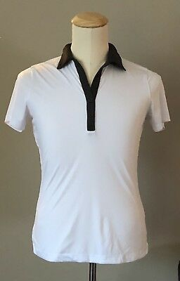 8eb7007b CLIQUE Men's Short Sleeve Polyester White Polo Shirt w/Gray Collar/Trim, ...