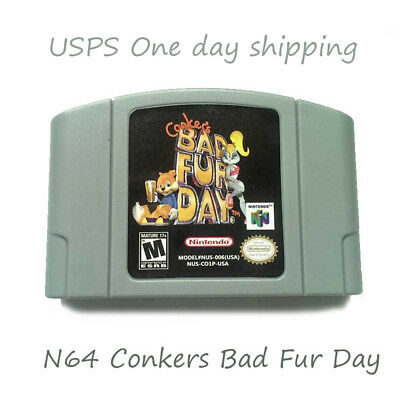 Tested - Conkers Bad Fur Day Nintendo 64 N64 Game Cartridge Playing Card