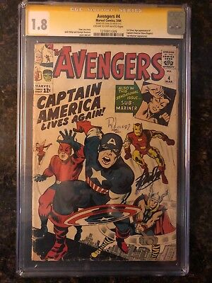 Avengers #4 CGC 1.8 SS Stan Lee Signed 1st Silver Age Appearance Captain America