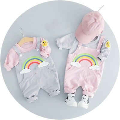 Toddler Kid Boy Girl Long Sleeve Tops + Rainbow Bib Brace Pants Trousers Outfits