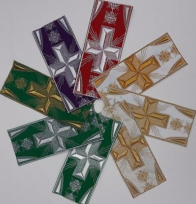 "Vestment Banding Cross Design 3"" Embroidered USA Made Assorted Colors By Yard"