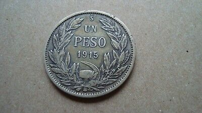 Chile One Peso 1915 Silver Coin - Combined Shipping