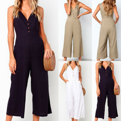 Womens Lady V Neck Pocket Backless Loose Wide Leg Pants Jumpsuit Summer Playsuit