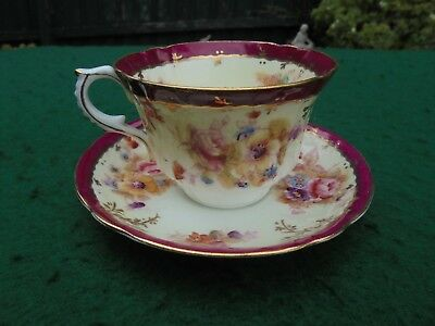 ANTIQUE ENGLISH WILLIAMSON & SONS HAND PAINTED ROSE BOUQUET CUP SAUCER DUO c1880