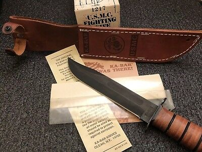 KA-Bar Knives USMC Fighting Knife Straight Edge 1217 Cowhide Sheath KABAR MINT!