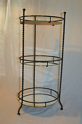 Vtg nic nac Plant Stand End Table Mirror 3 tier Shelf Twisted Rope iron frame