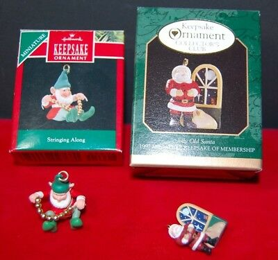 Lot of 2 Hallmark Keepsake Miniature Ornaments Jolly Old Santa and Elf