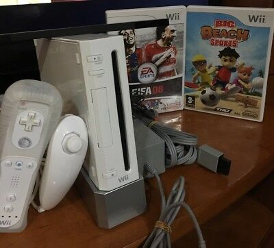 Consola Nintendo Wii Retrocompatible Con Gamecube Con Fifa 08 Y Big Beach Sports