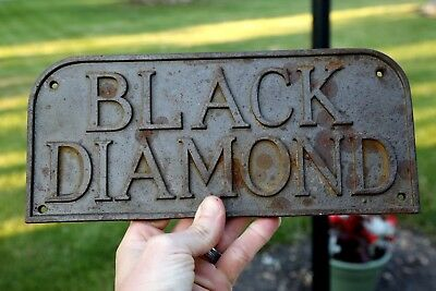 Antique Black Diamond Cast Iron Sign Industrial Iron Works Plaque Name Plate Old