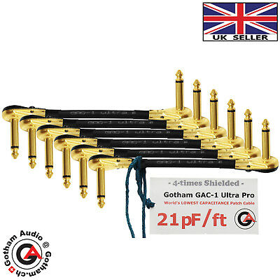 6x20cm Gac-1 Ultra Pro-Guitar Bass Effects Instrument Pedal Patch S Cable (Gold)