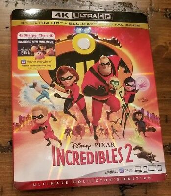 Incredibles 2 (4K Ultra HD + Blu-ray + Digital, 2018) New with Slipcover
