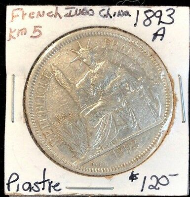 French Indochina 1893 A Piastre KM 5 XF cleaned