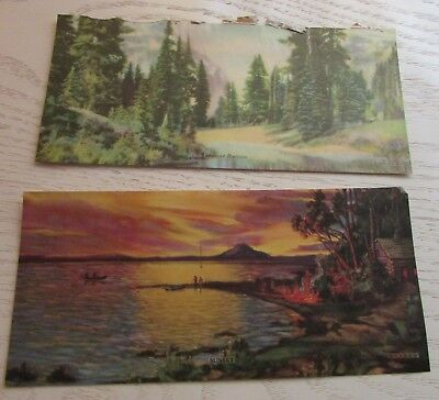 Small Antique Paper Prints Mount Rainer - 7 1/2 X 3 1/2 - Made in USA