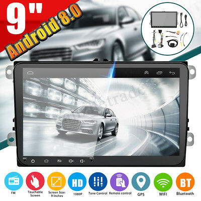 9'' 2 DIN Car Radio Stereo MP5 Android 8.0 GPS WIFI For VW Golf Polo Passat MK5
