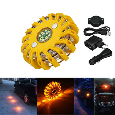 Car Amber Magnet Emergency Warn Hazard Security Strobe LED Light Bar Roof Lamp