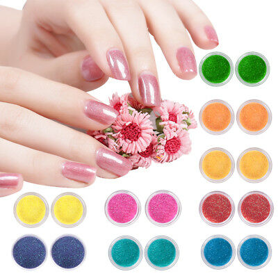 2/12pcs Iridescent Glitter Dust Powder For Nail Art & Make Up UV Acrylic Crafts
