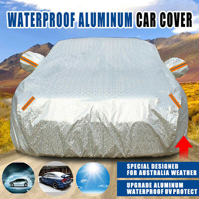 Aluminum Waterproof Double Thicker Full Car Cover 3 Layer Rain Resistant UV Dust