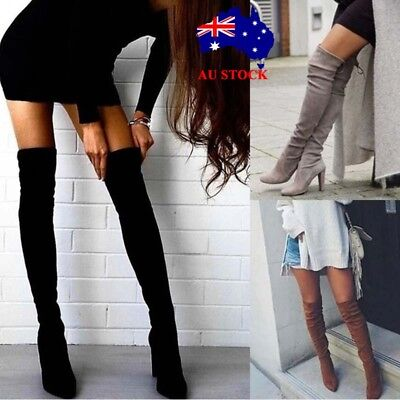 AU Womens Ladies Over The Knee Boots Thigh High Heel Stretch Zip Shoes Size 2-7