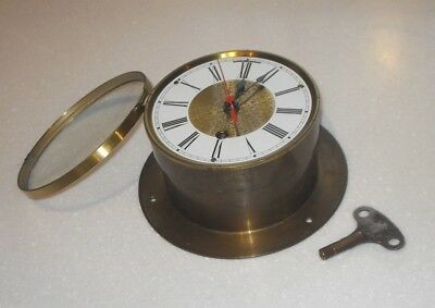 Vintage Coventry Astral Ships Brass Mechanical Wind Up Bulkhead Nautical Clock